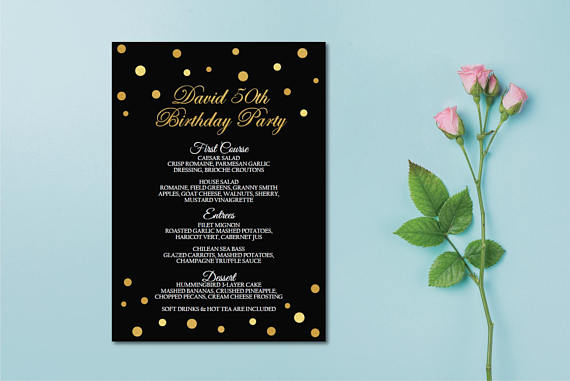 black and gold birthday menu example