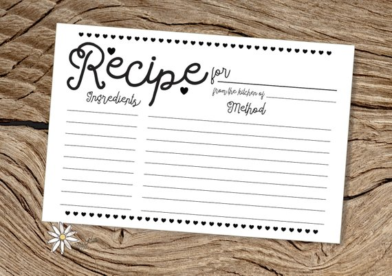 black and white heart recipe index card example