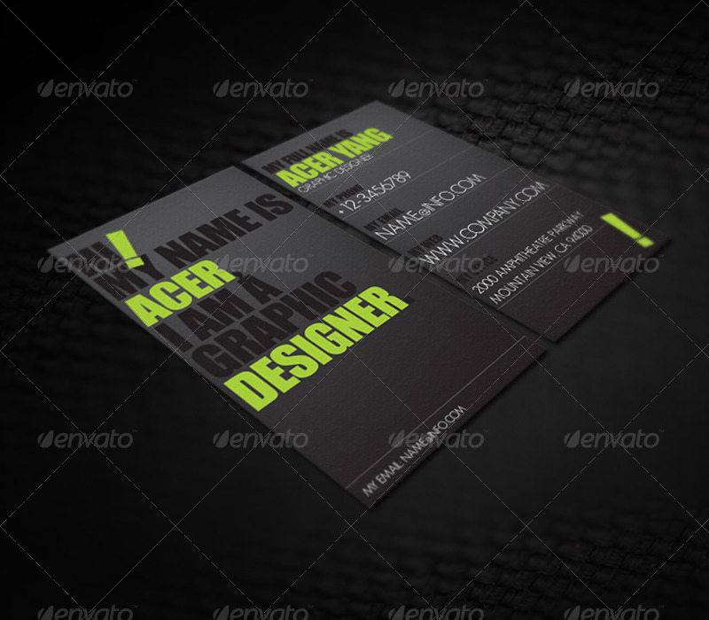 black and yellow business card example