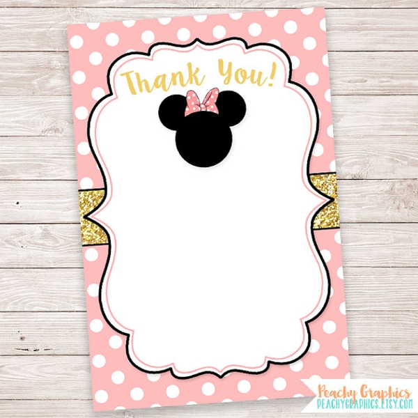 blank minnie mouse thank you note card