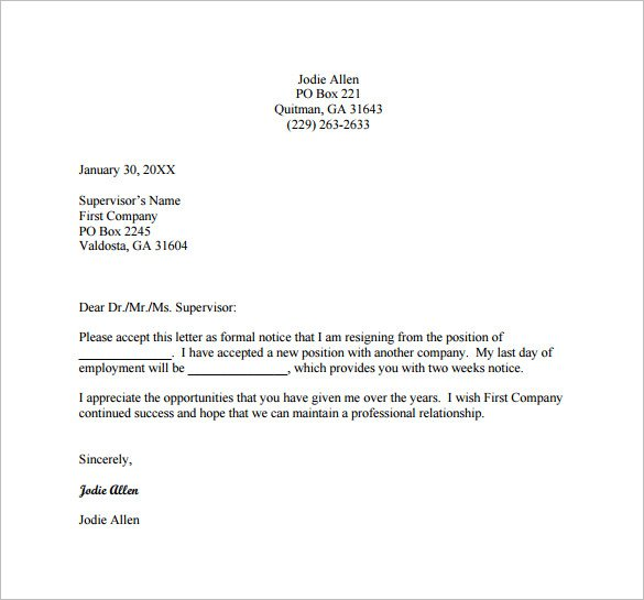 blank professional resignation letter example