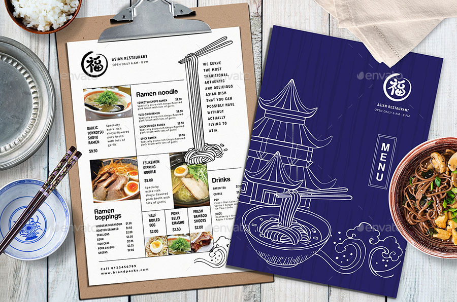 blue asian menu template example