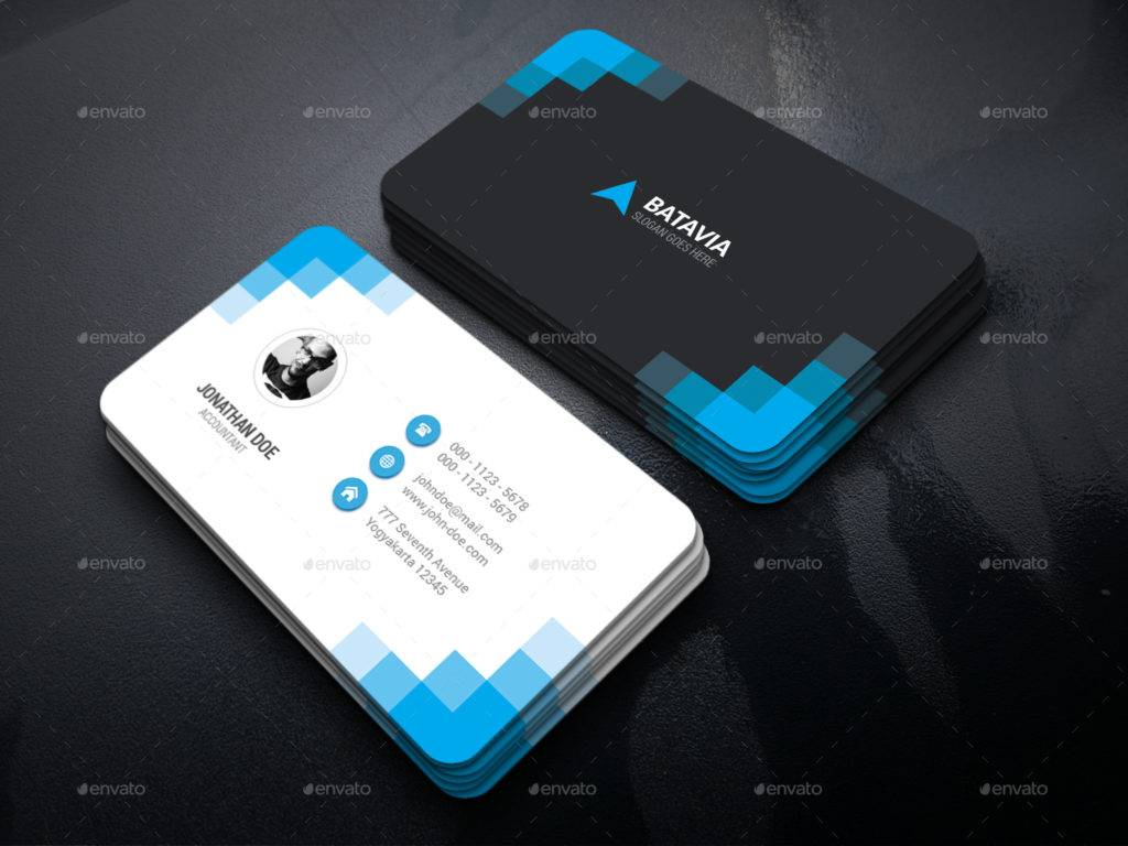 blue black business card bundle example