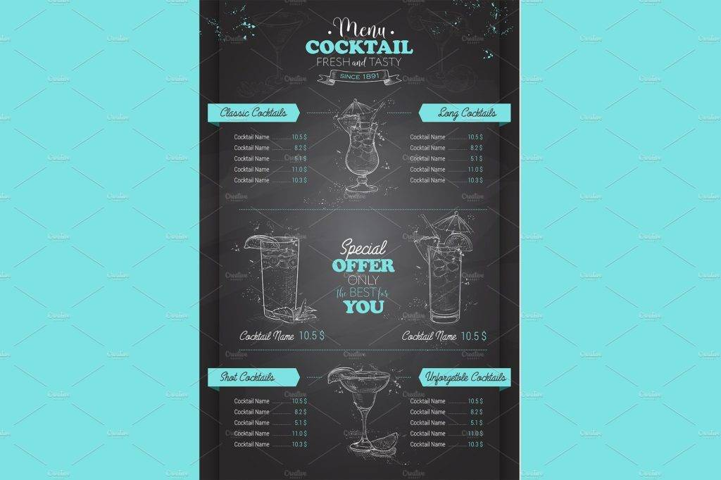 blue chalkboard cocktail menu example