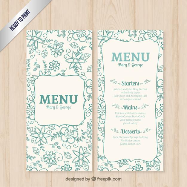 blue flower wedding menu example