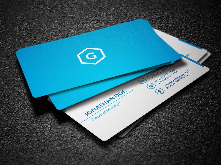 blue gradient business card design template