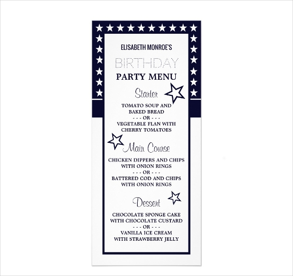 blue white star birthday menu example1