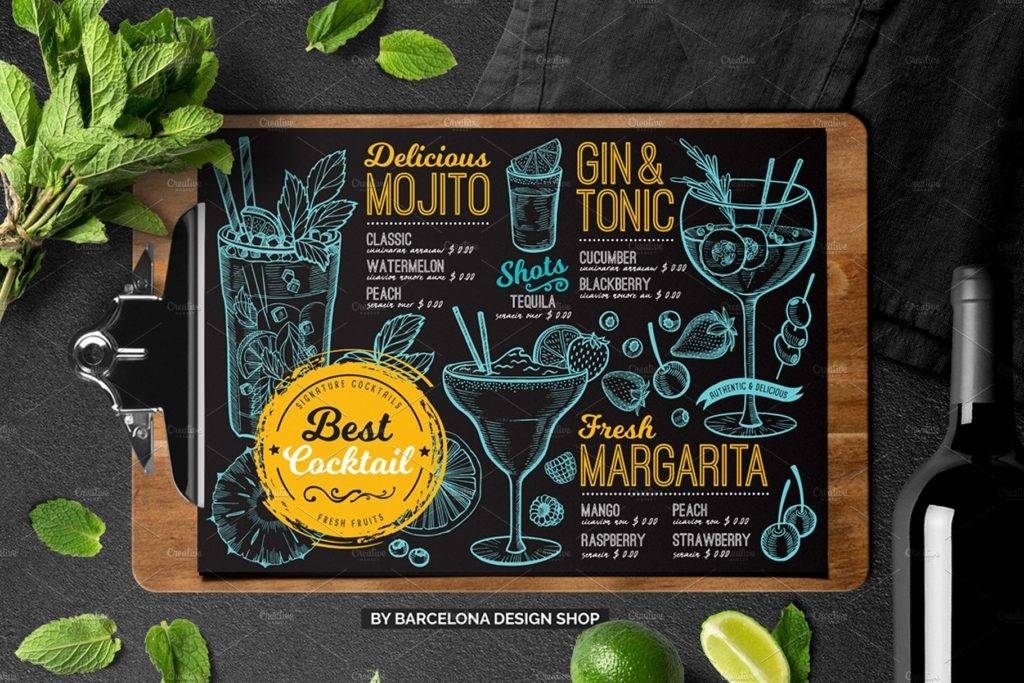 blue yellow cocktail menu example