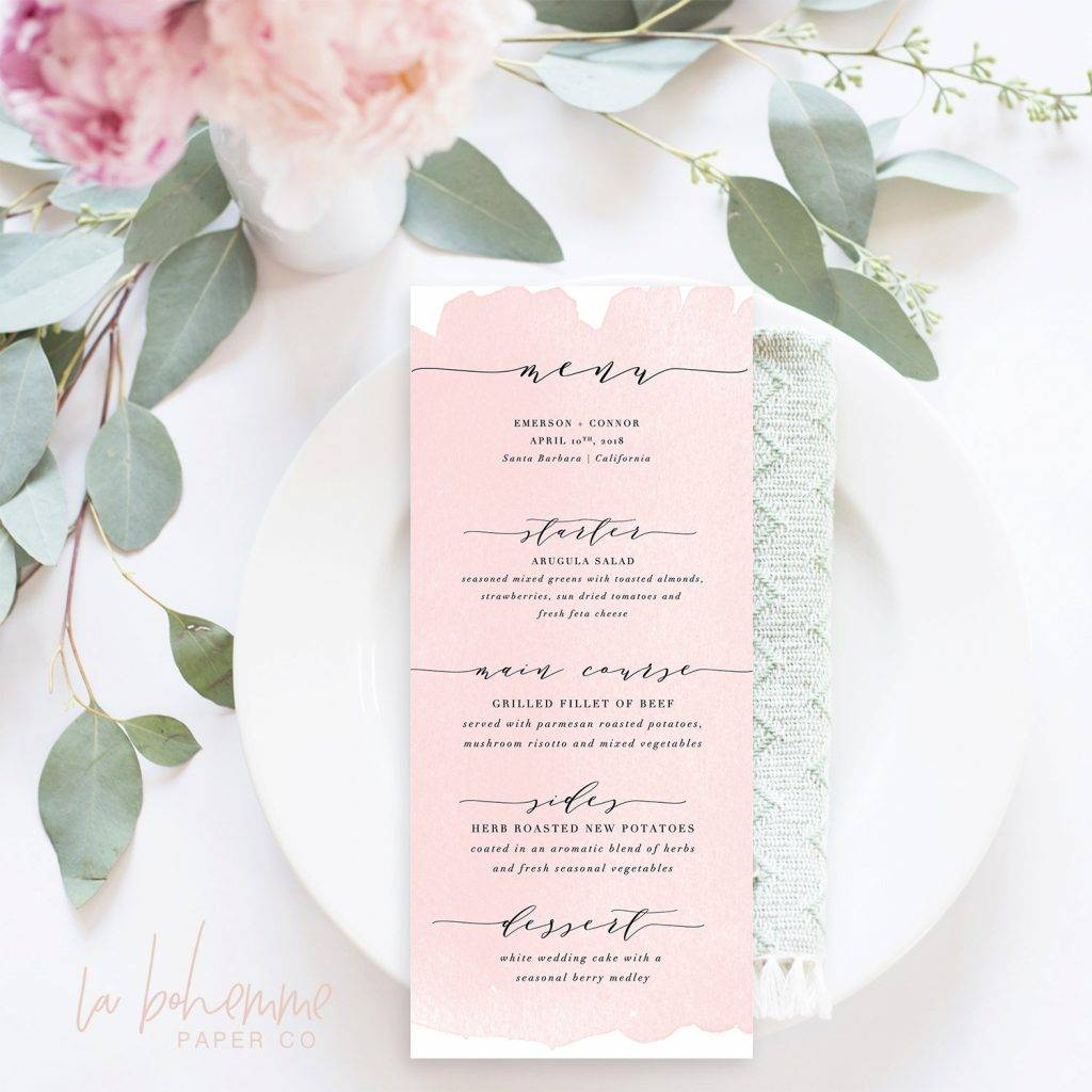 blush pink printable wedding menu example1