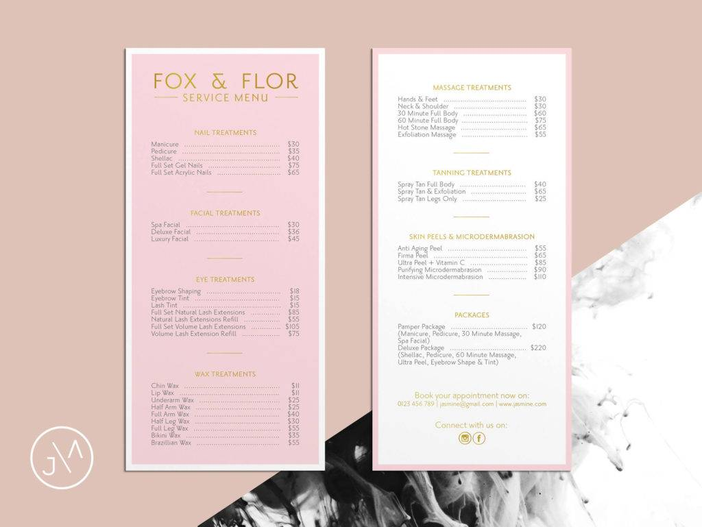 blush pink and gold price list