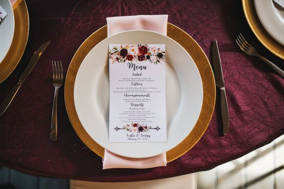 blush and burgundy wedding menu card example