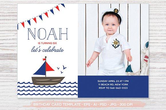 boat invitation photo card example