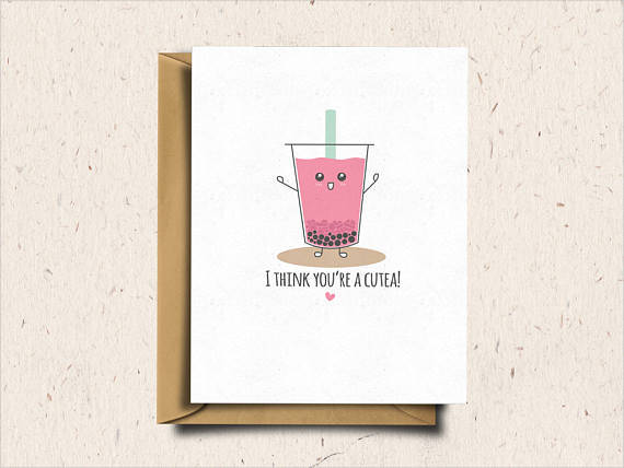 boba tea anniversary greeting card example1