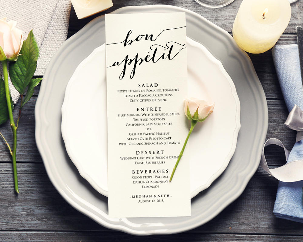 bon apetit printable wedding menu example1