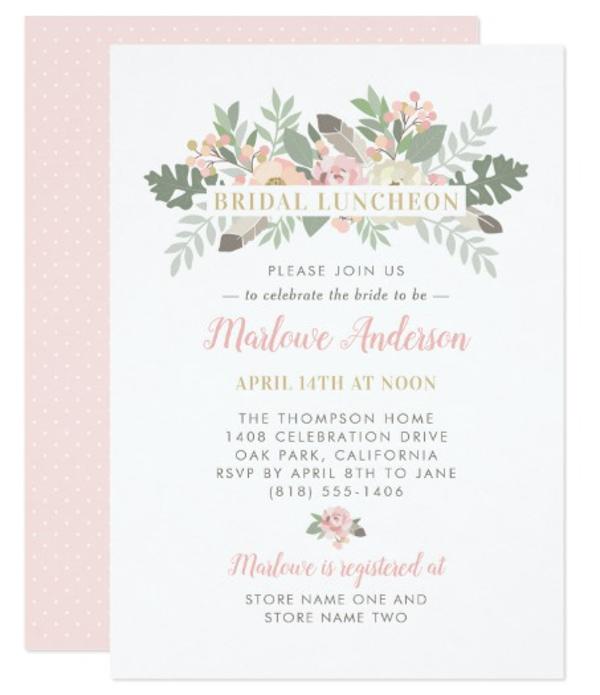 bridal luncheon invitation design