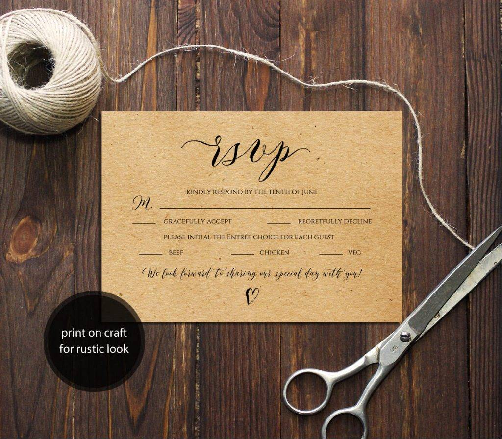 brown wedding rsvp postcard example