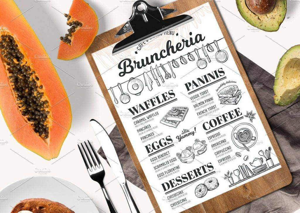 bruncheria menu restaurant example