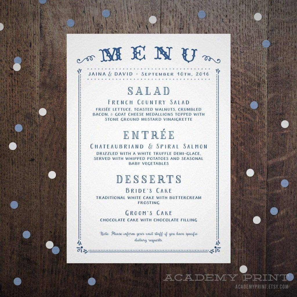 buffet menu carnival design