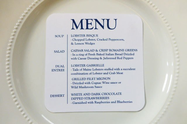 buffet menu note card design