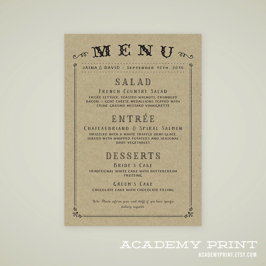 buffet menu vintage design