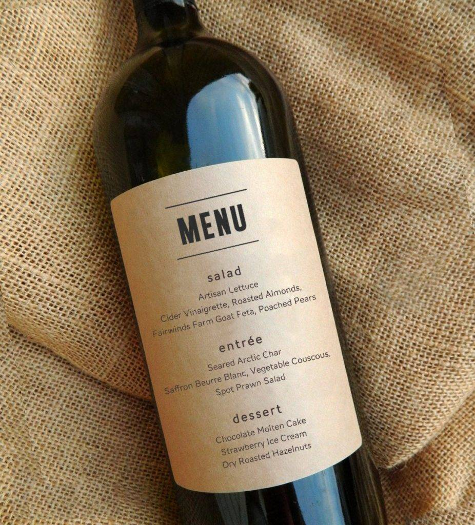 buffet menu as wine label design