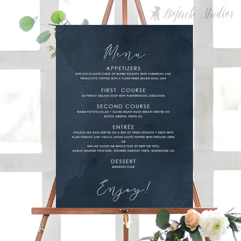 buffet menu on chalkboard design