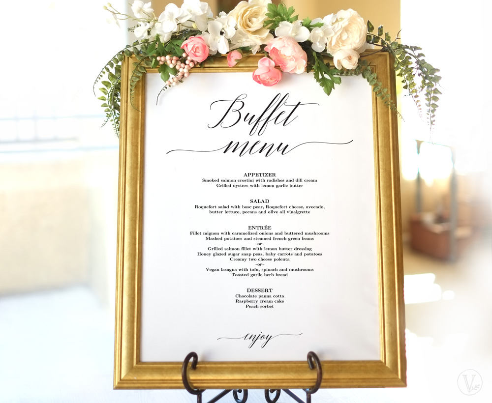 buffet menu on a frame design