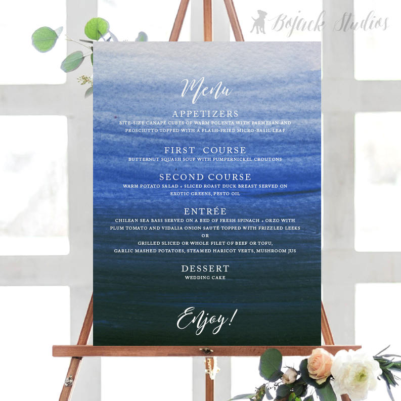 buffet menu on an easel design