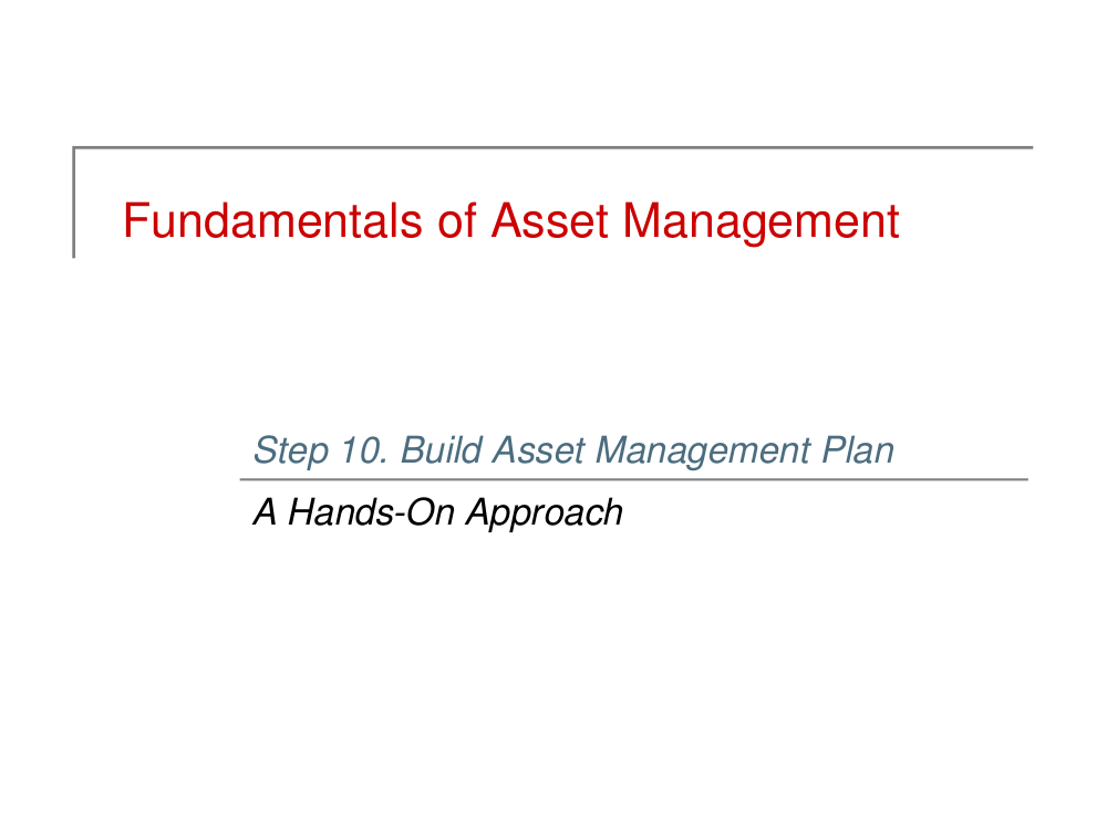 build asset management plan example