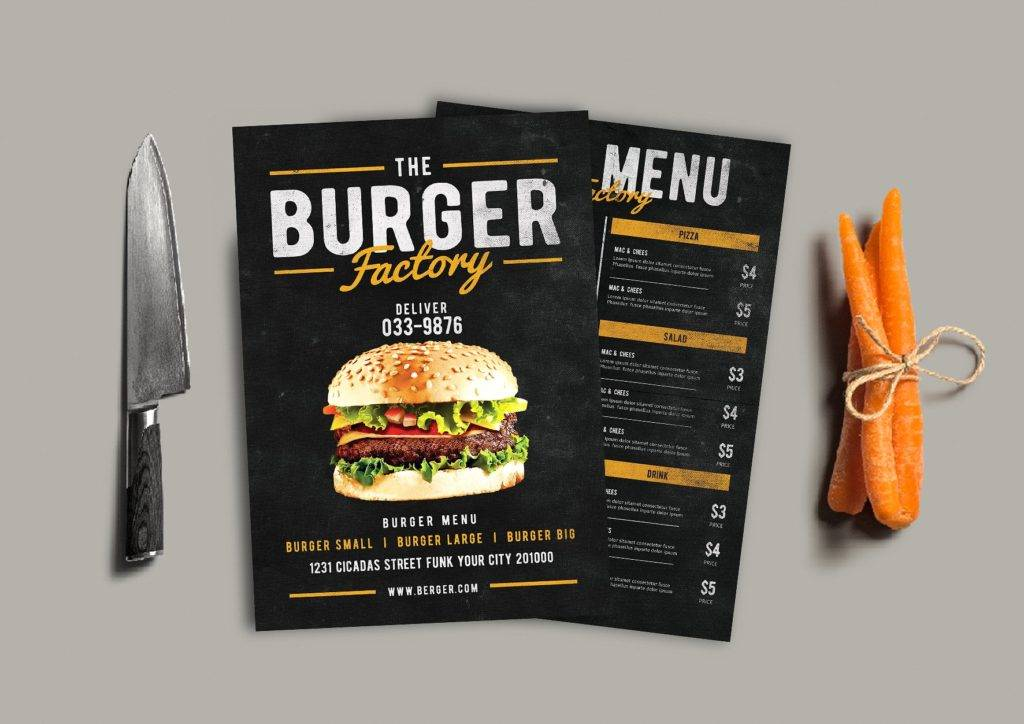 burger factory drive through menu example