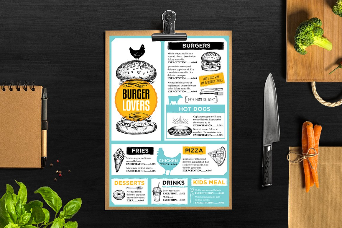 burger lovers party menu example