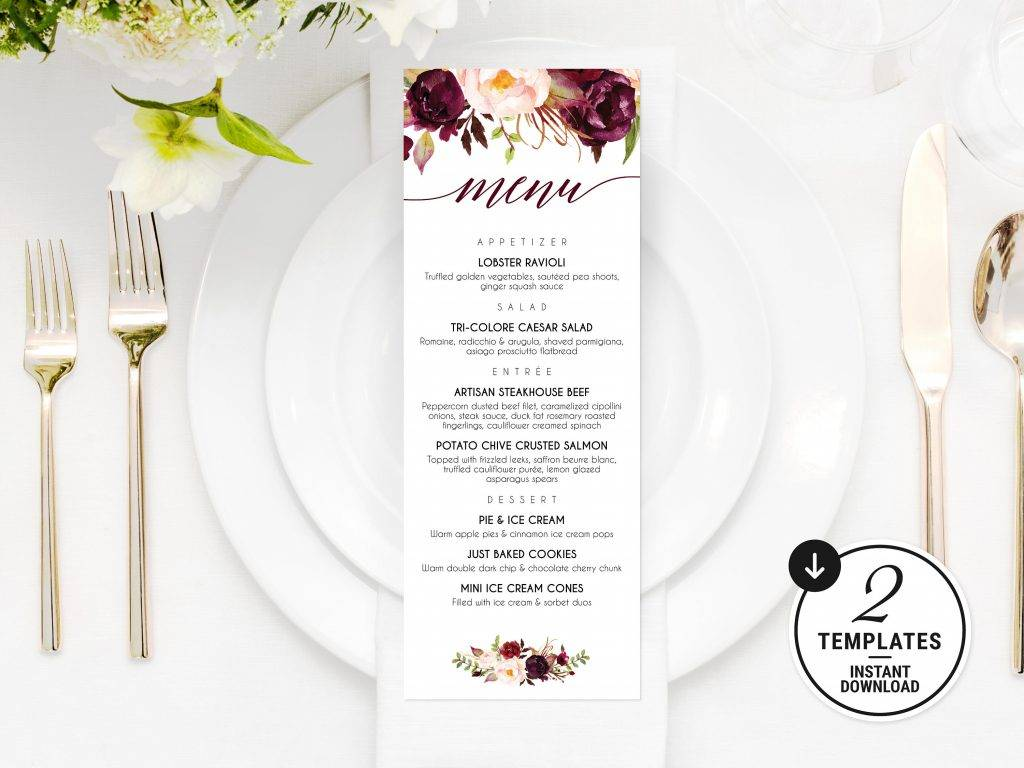 burgundy printable wedding menu example1