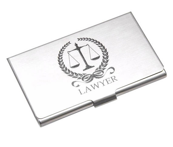 business card holder with lawyers scale symbol