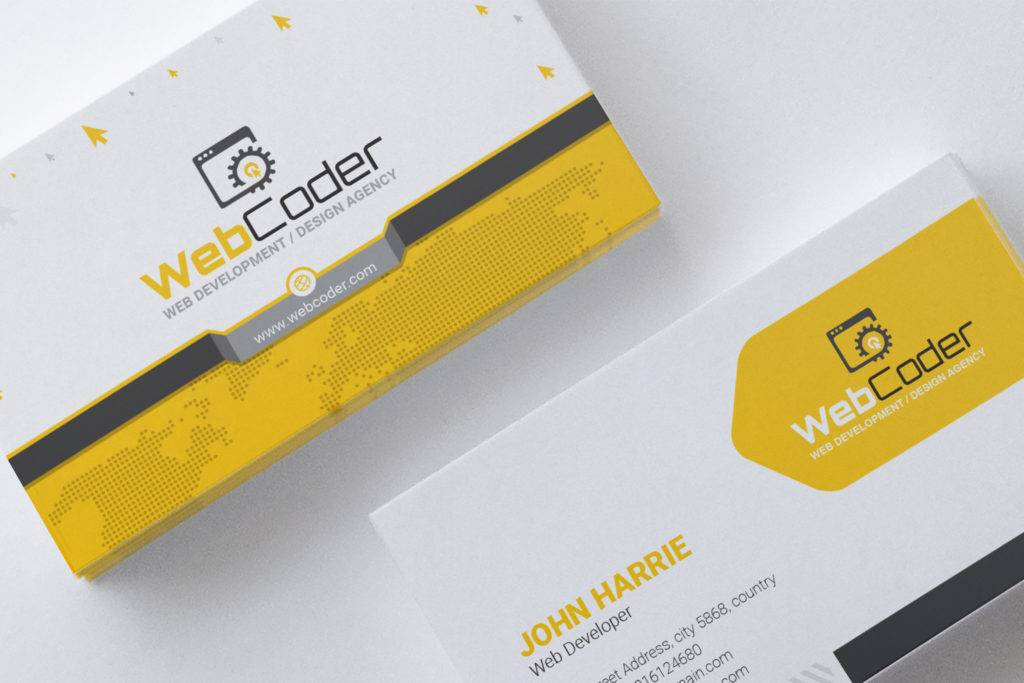 business card for web design and development agency