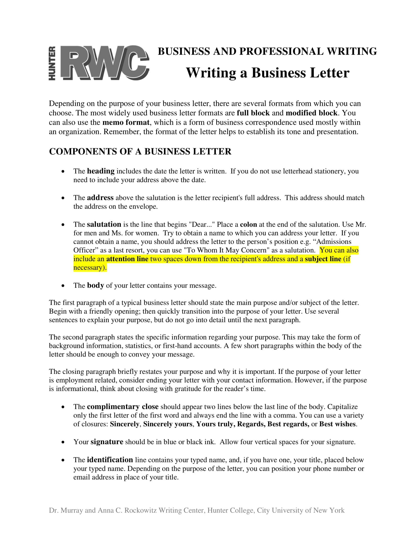 business letter writing tips and example