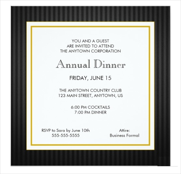 business professional dinner invitation card