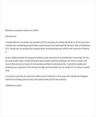 business proposal thank you letter