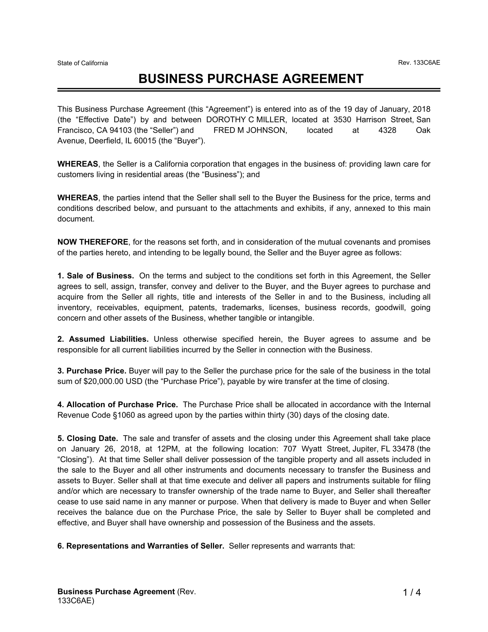 business purchase agreement example