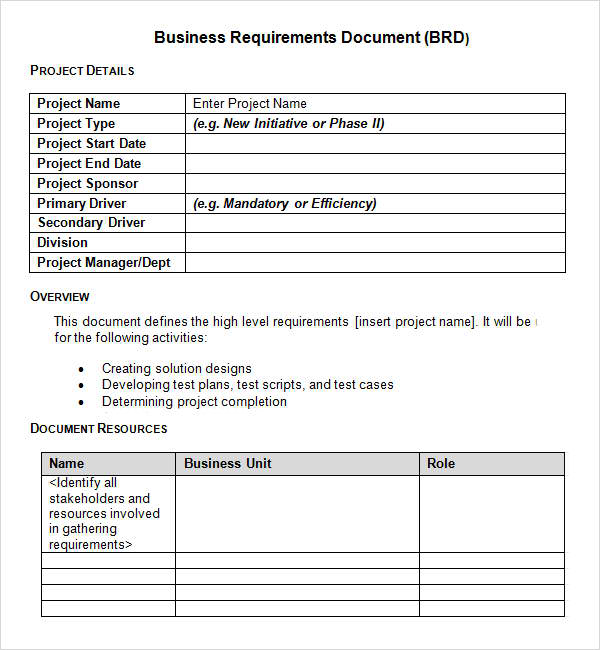 12 business requirements document examples pdf business requirements document brd example accmission Gallery