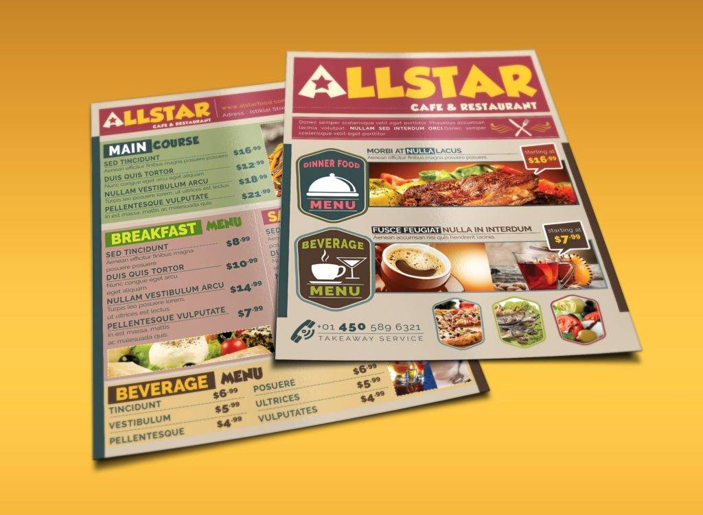 cafe restaurant drive through menu example