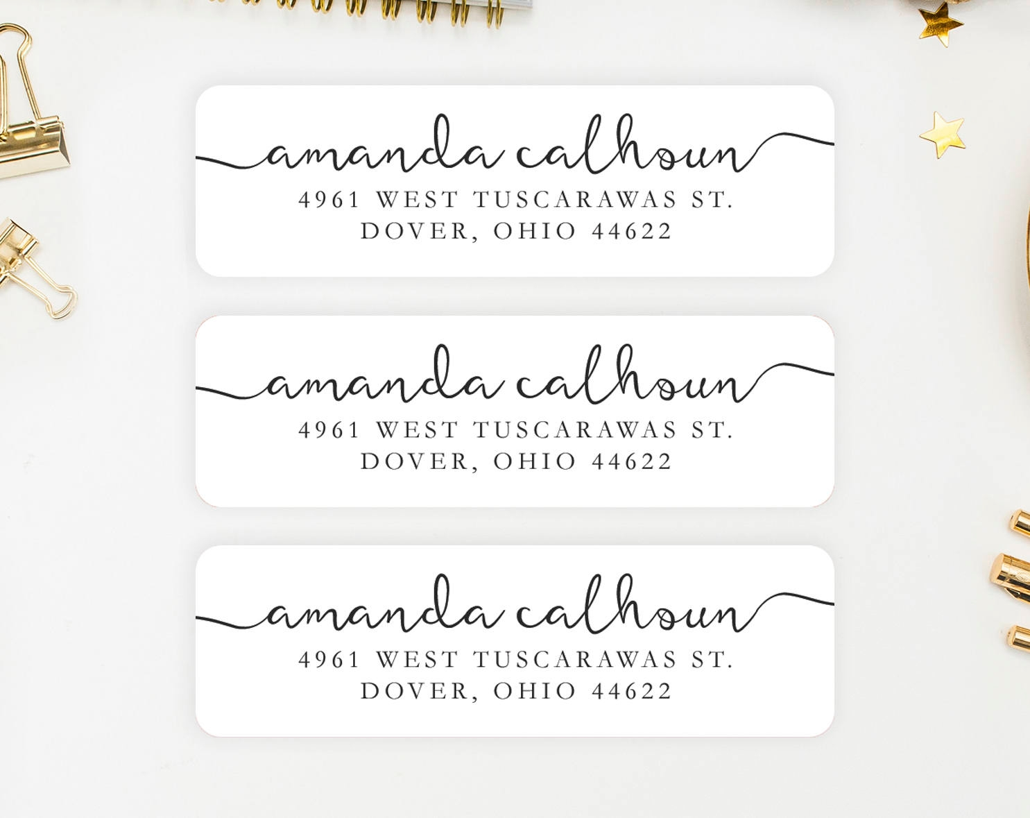 calligraphy address label example