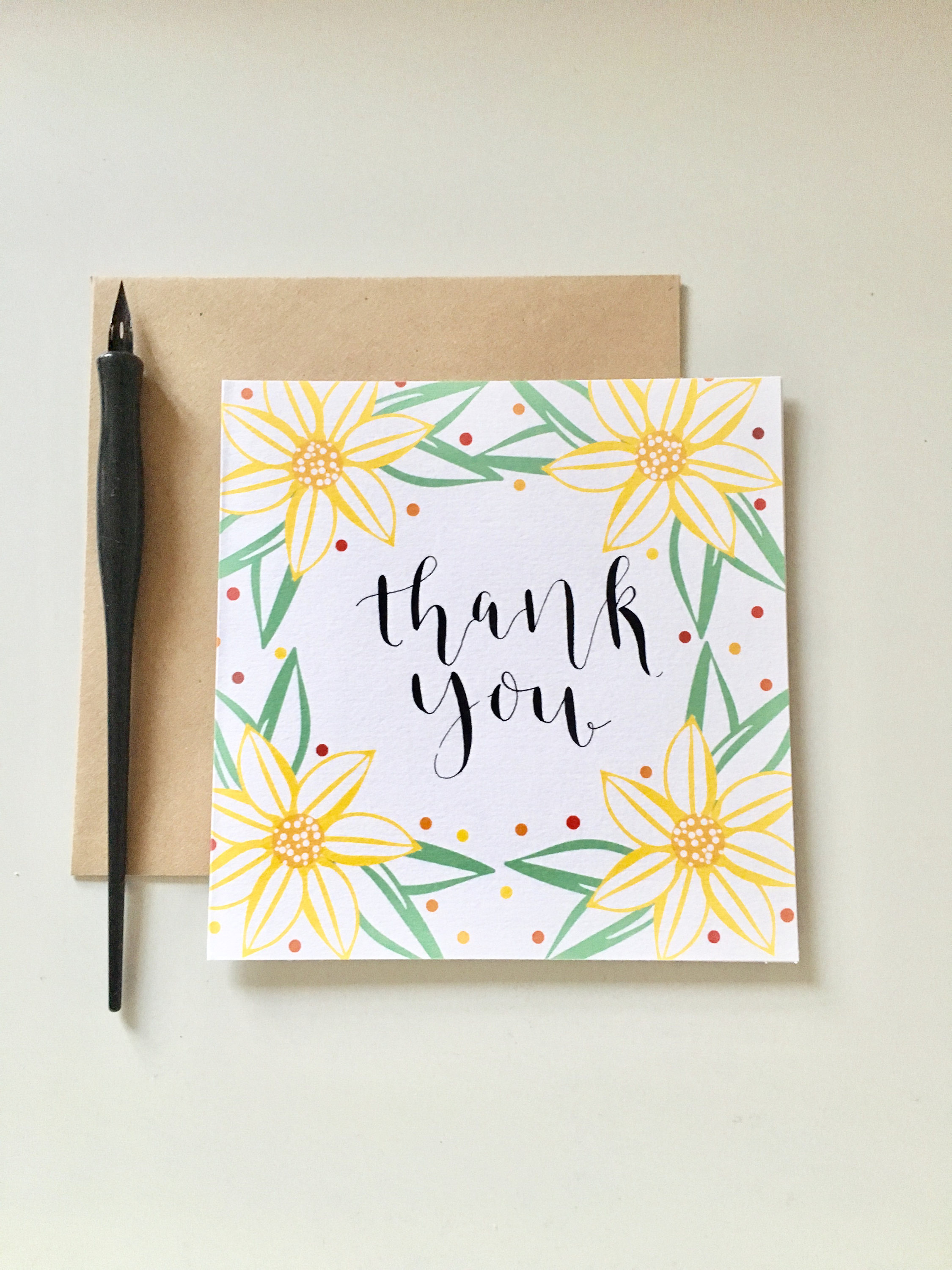 calligraphy thank you card example