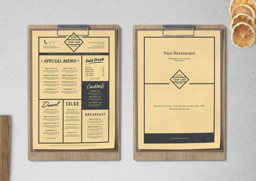 cardboard inspired restaurant menu design example