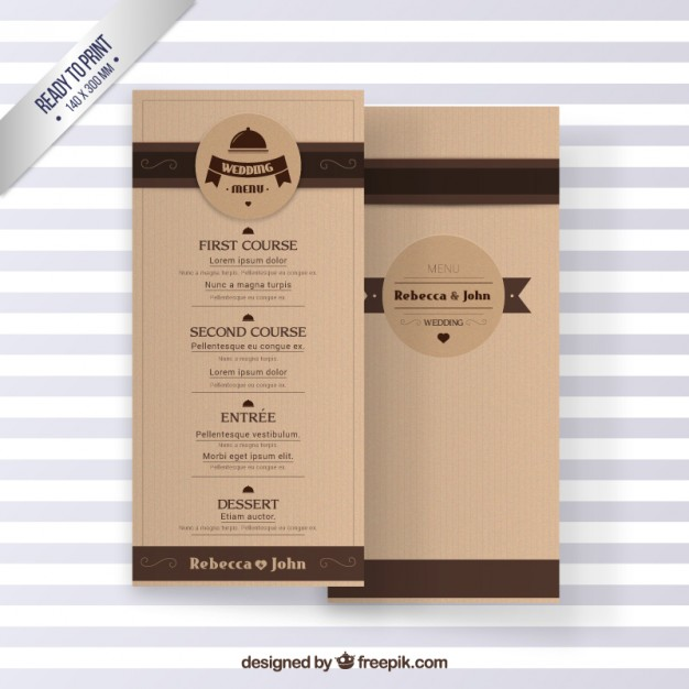 cardboard wedding menu example