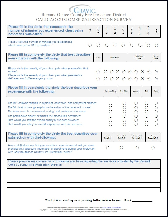 cardiac customer satisfaction questionnaire example