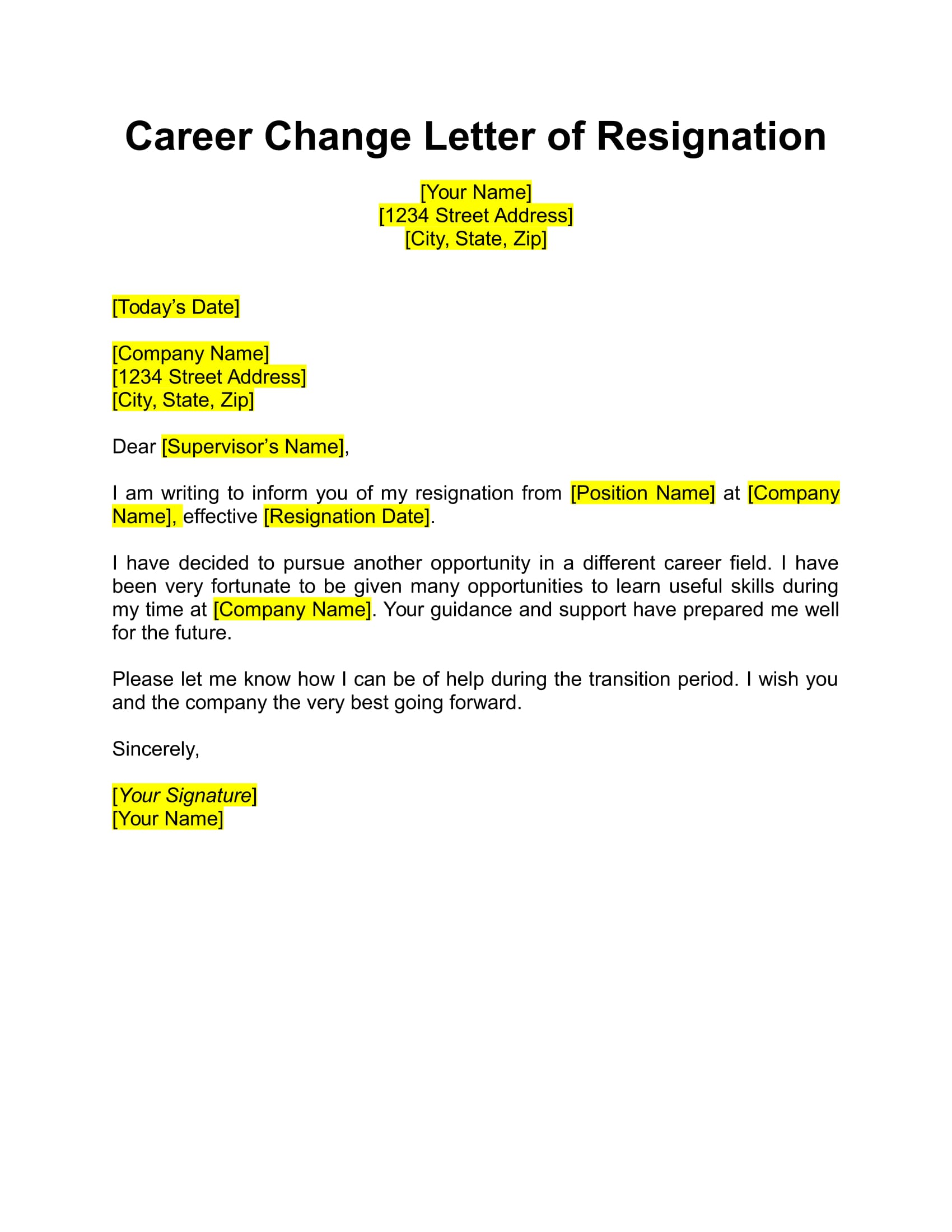 Resignation Letter Career Change Example Career Change Resignation