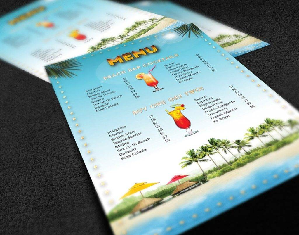 caribbean cocktail menu example