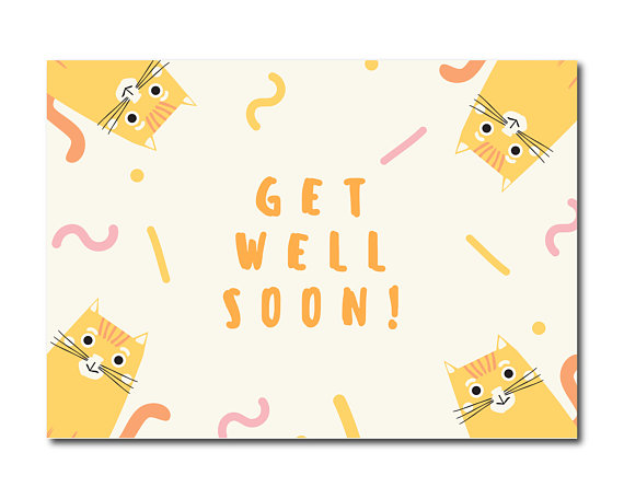cat get well greeting card example