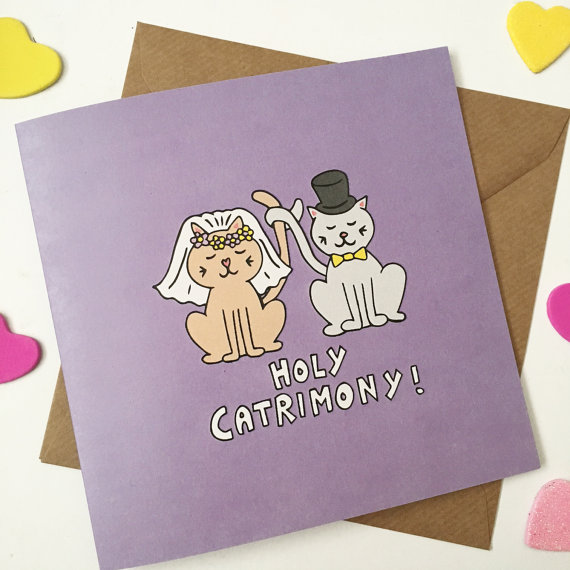 cat lovers wedding card example