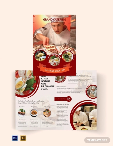 catering service bi fold brochure template